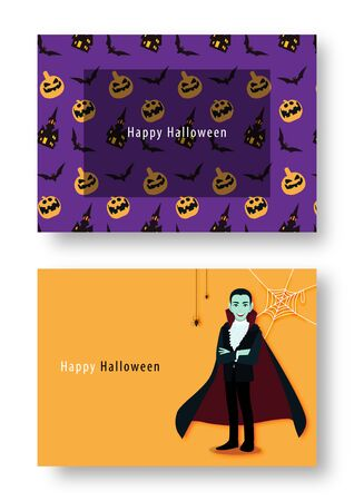 Happy Halloween party with cartoon character in Halloween costume. Flat icon design vector illustration. Stok Fotoğraf - 132920877