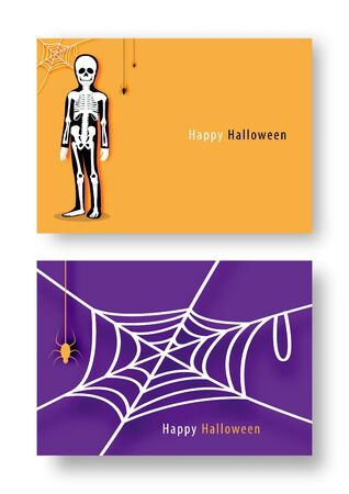 Happy Halloween party with cartoon character in Halloween costume. Flat icon design vector illustration. Stok Fotoğraf - 132920883