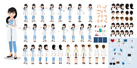 Female doctor cartoon character set, lady doctor in different uniform and poses, medical workers or hospital staff. Doctor cartoon DIY kit on a white background vector Stok Fotoğraf - 132920903