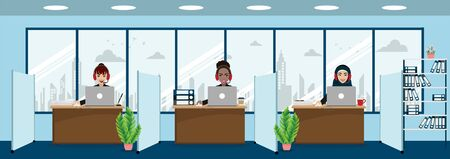 Group of call center, customer support, help desk or service concept. Different nationalities people in work space background. Cartoon character or flat design vector Stok Fotoğraf - 132920913