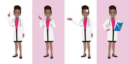 Female doctor cartoon character set, American African lady doctor in different poses, medical worker or hospital staff. Doctor cartoon Flat icon on a white and pink background vector Stok Fotoğraf - 132920917
