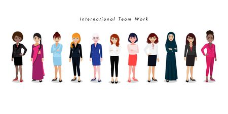 Group of International businesswomen on white background. Set of business people standing together. Different nationalities and dress styles. Cartoon character or flat design vector