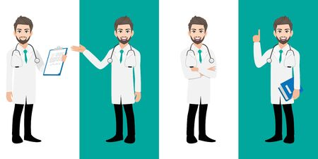 Male doctor cartoon character set, Handsome man doctor in different poses, medical worker or hospital staff. Doctor cartoon Flat icon on a white and green background vector Stok Fotoğraf - 132920835