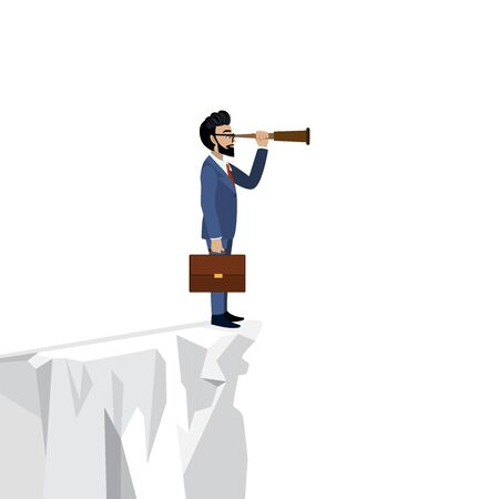 Leader. Cartoon character of businessman looking through spyglass on white cliff background vector Çizim