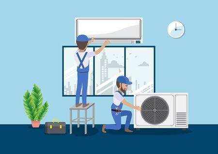 Tecnico che ripara il condizionatore d'aria diviso su una parete blu. Edilizia edilizia, nuova casa, interni di costruzione. Illustrazione vettoriale di personaggio dei cartoni animati Vettoriali