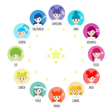 Vector set of cartoon character zodiac girls. Zodiac signs collection, Aries, Taurus, Gemini, Cancer, Leo, Virgo, Libra, Scorpio, Sagittarius, Capricorn, Aquarius, Pisces. Horoscope illustration Illustration