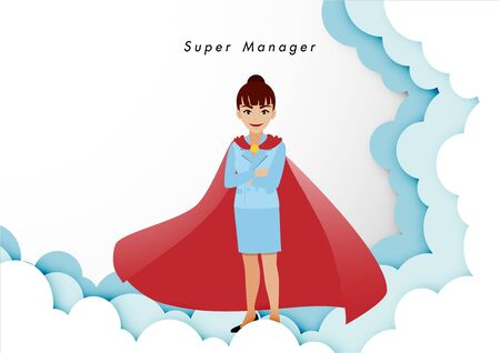 Businesswoman in superhero or super manager concept. Isolate business people on sky background, cartoon character or flat icon design vector