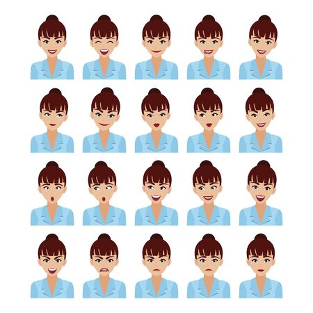 Business woman with different facial expressions set isolated in white background, beautiful businesswoman in office style smart suit in cartoon character style vector illustration