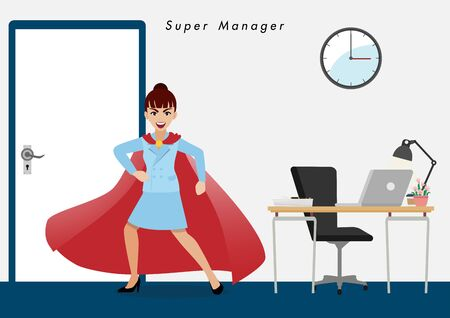 Businesswoman in superhero or super manager concept. Isolate business people filling martial in office background cartoon character or flat icon design vector