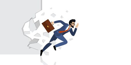 Breakthrough. Business concept with cartoon character. Manager breaking the wall or white background vector Çizim