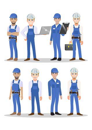 Engineer, technician, builders and mechanics people teamwork cartoon character or flat icon style. Vector illustration Çizim