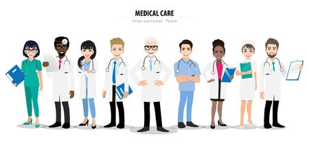 Group of doctors and a nurse team standing together in different poses. Team of medical workers on a white background. Hospital staff. Cartoon character design vector