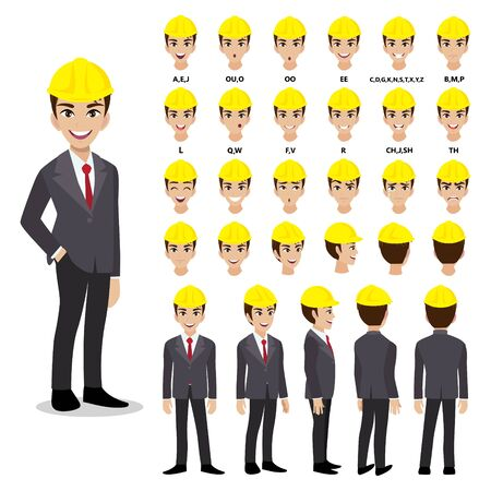 Cartoon character with Engineer in suit for animation. Front, side, back, 3-4 view character. Separate parts of body. Flat vector illustration. Çizim