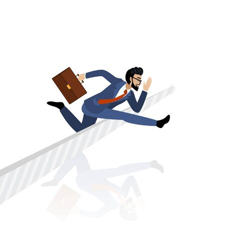 Race. Cartoon character of a businessman jumping over arrow sign on white background vector