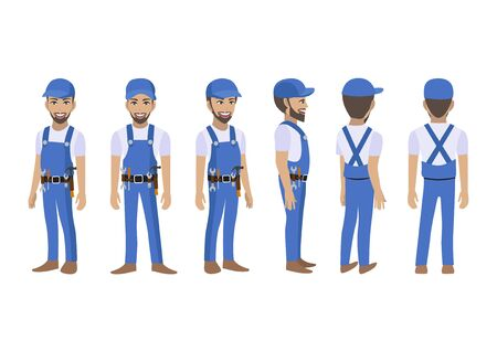Engineer , technician, builders and mechanics cartoon character for animation. Front, side, back, 3-4 view character. Flat vector illustration Çizim