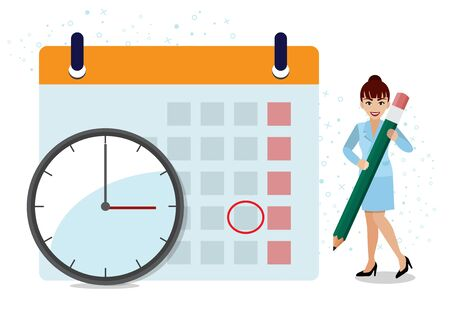 Business operations planning and scheduling concept with businesswoman writing appointment on calendar with pencil and time with clock on white background cartoon design vector Stok Fotoğraf - 132920722