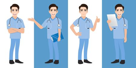 Male doctor cartoon character set, Handsome man doctor in different poses, medical worker or hospital staff. Doctor cartoon Flat icon on a white and blue background vector Stok Fotoğraf - 132920731