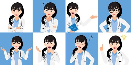 Female doctor cartoon character set, lady doctor in different poses, medical worker or hospital staff. Doctor cartoon Flat icon design on a white and blue background vector