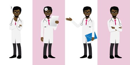 Male doctor cartoon character set, American African man doctor in different poses, medical worker or hospital staff. Doctor cartoon Flat icon on a white and pink background vector