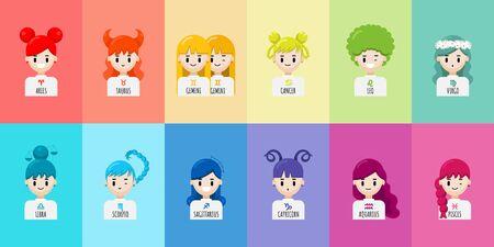 Vector set of cartoon character zodiac girls. Zodiac signs collection, Aries, Taurus, Gemini, Cancer, Leo, Virgo, Libra, Scorpio, Sagittarius, Capricorn, Aquarius, Pisces. Horoscope illustration Çizim