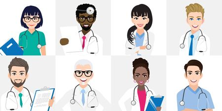 Group of doctors team standing together in different poses. Team of medical workers on a white background. Hospital staff. Cartoon character design vector Çizim
