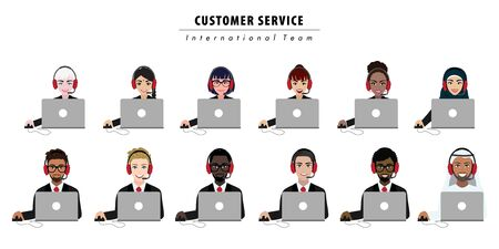 Group of call center, customer support, helpdesk or service concept. Different nationalities people. Cartoon character or flat design vector Çizim