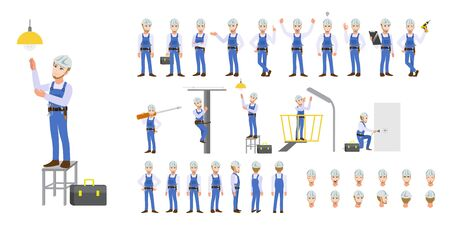 Electrician Technician worker, engineer, building construction worker and mechanics cartoon character set and animation. Front, side, back, 3-4 view character. Flat vector illustration