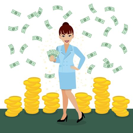 Rich businesswoman throwing money up. Successful business concept with lady holding money on gold coin background cartoon character design vector