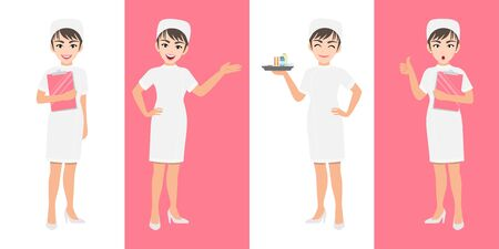 Nurse cartoon character set, Cute nurse in different poses, medical worker or hospital staff. Nurse cartoon Flat icon on a white and pink background vector Çizim