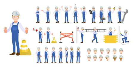 Building construction worker, engineer , technician and mechanics cartoon character set and animation. Front, side, back, 3-4 view character. Flat vector illustration