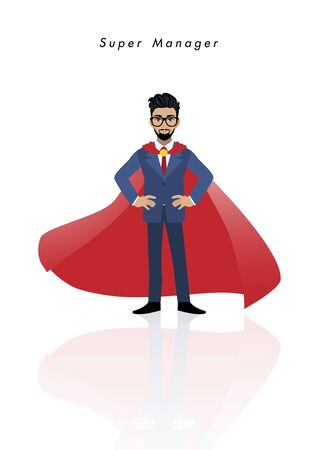 Super manager with businessman in superhero costume style on white background vector