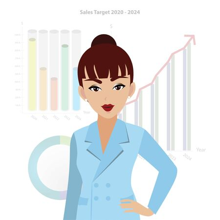 A business woman cartoon character in a blue suit office style with chart background and growth business concept vector Archivio Fotografico - 132728865