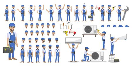 Technician repairing split air conditioner on a white background. Construction building industry, new home, construction interior. Cartoon character set vector illustration