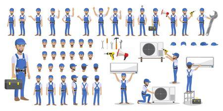 Technicus die gespleten airconditioner op een witte achtergrond herstelt. Bouw bouwnijverheid, nieuw huis, bouw interieur. Cartoon karakter set vector illustratie