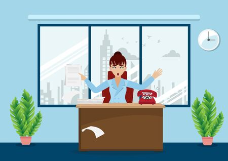 Business woman or a boss working at her desk in modern office interior background. creative office workspace and cartoon character style vector
