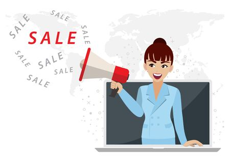 Woman with megaphone or loudspeaker promoting sale in laptop. Online or digital market concept with cartoon character or flat icon design vector Çizim