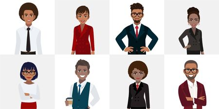 Group of African or American business people cartoon character. African or American businessman and businesswoman in office style smart suit and casual. Vector illustration Çizim