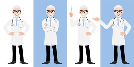 Male doctor cartoon character set, Old man or senior man doctor in different poses, medical worker or hospital staff. Doctor cartoon Flat icon on a white and blue background vector Çizim