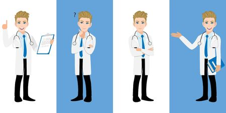 Male doctor cartoon character set, Handsome man doctor in different poses, medical worker or hospital staff. Doctor cartoon Flat icon on a white and blue background vector