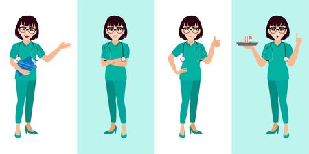 Female doctor cartoon character set, young or teenager lady doctor in different poses, medical worker or hospital staff. Doctor cartoon Flat icon on a white and green background vector