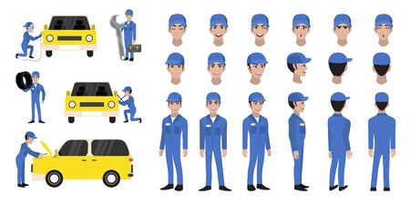 Car repair and service. Mechanic repairs and diagnostics car of auto service cartoon character head set and animation. Front, side, back, 3-4 view animated character. Flat vector illustration