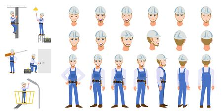 Electrician Technician worker cartoon character head set and animation. Front, side, back, 3-4 view animated character. Flat vector illustration Stok Fotoğraf - 133204327