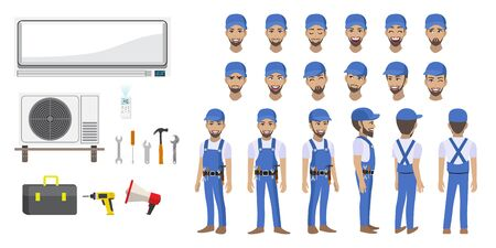 Technician repairing split air conditioner cartoon character head set and animation. Front, side, back, 3-4 view animated character. Flat vector illustration Stok Fotoğraf - 133204328