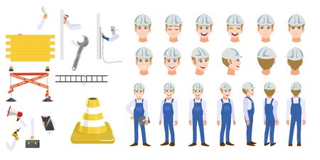 Building construction worker cartoon character head set and animation. Front, side, back, 3-4 view animated character. Flat icon vector illustration Stok Fotoğraf - 133152542