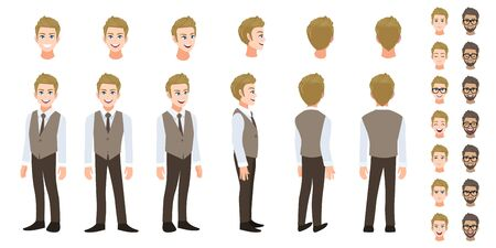 Businessman cartoon character head set and animation. Front, side, back, 3-4 view character. Flat icon design vector Çizim