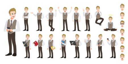 Businessman cartoon character set. Handsome business man in office style smart shirt. Vector illustration Ilustracja