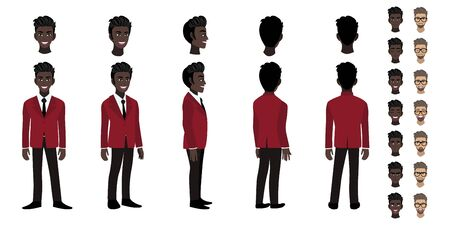 African American Businessman cartoon character head set and animation design. Front, side, back, 3-4 view animated character. Flat vector illustration. Stok Fotoğraf - 133204366
