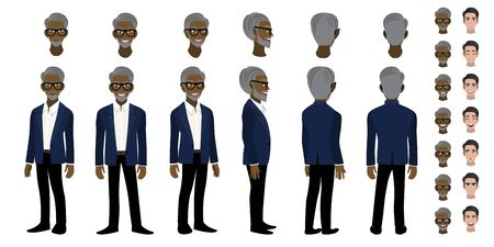 African American Professor cartoon character head set and animation. Front, side, back, 3-4 view character. Flat icon design vector
