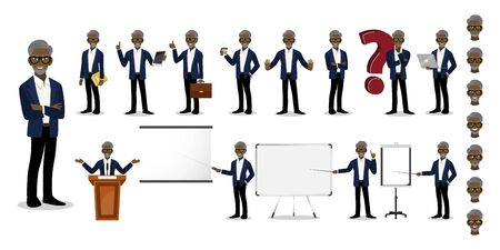 African American Professor cartoon character set. Old man in a smart suit on white background . Vector illustration