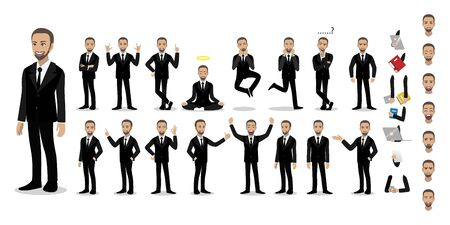 Businessman cartoon character set. Handsome business man in office style smart suit. Vector illustration Stok Fotoğraf - 133204369